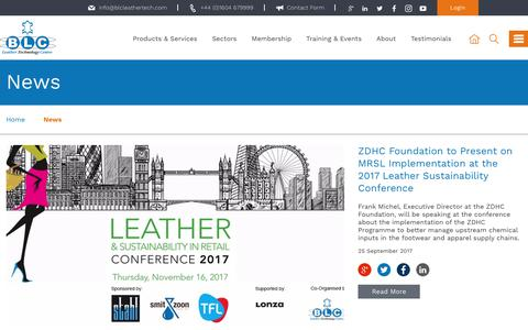 Screenshot of Press Page blcleathertech.com - News | BLC Leather Technology Centre Ltd - captured Oct. 9, 2017