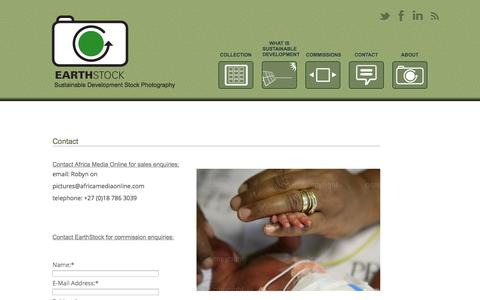 Screenshot of Contact Page earthstock.co.za - Contact us for commission enquiries - EarthStock - captured Sept. 27, 2014