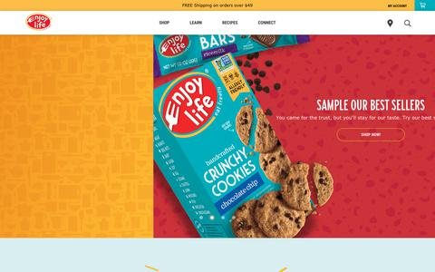 Screenshot of Home Page enjoylifefoods.com - Eat Freely - Enjoy Life Foods® | Allergy Friendly & Gluten-Free - captured March 31, 2019