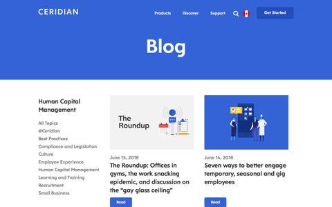 Screenshot of Blog ceridian.com - Human Capital Management | Blog | Ceridian - captured June 20, 2018