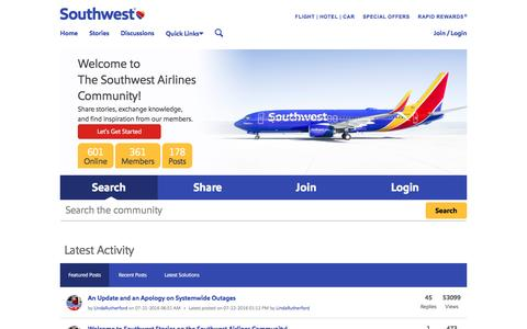 Screenshot of southwest.com - Home - The Southwest Airlines Community - captured July 23, 2016
