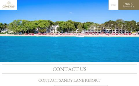 Screenshot of Contact Page sandylane.com - Contact Us | Sandy Lane | Barbados Luxury Resort - captured July 22, 2016