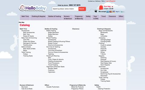 Screenshot of Site Map Page hellobabydirect.co.uk - Hello Baby Sitemap - captured Jan. 28, 2016