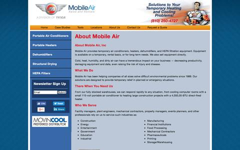 Screenshot of About Page mobileair.com - About Mobile Air | Mobile Air - Portable Air Conditioner and Heater Rental - captured July 4, 2017