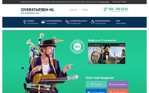Screenshot of Home Page overstappen.nl - Overstappen.nl: Onafhankelijk vergelijken & Overstappen - captured Sept. 25, 2014