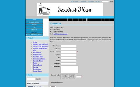 Screenshot of Contact Page sawdustman.com - Sawdust Man Pens and Wood Gifts - Contact - captured Sept. 30, 2014
