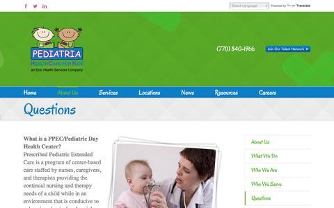 Screenshot of FAQ Page pediatriakids.com - Questions | Pediatria - captured Oct. 28, 2016