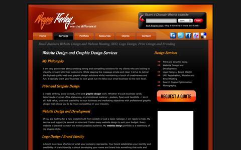 Screenshot of Services Page waynefarley.com - Services for Small Business Website Design and Website Hosting, SEO, Logo Design, Print Design and Branding - captured Oct. 26, 2014