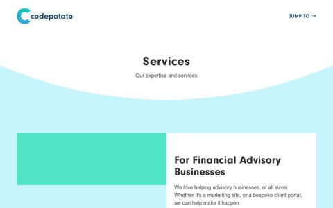 Screenshot of Services Page codepotato.co.uk - Services for Financial Advisory Businesses & Networks • Codepotato - captured July 24, 2018