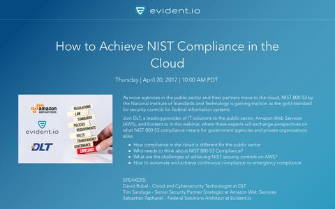 Screenshot of Landing Page evident.io - How to Achieve NIST Compliance in the Cloud - Webinar - captured April 17, 2017