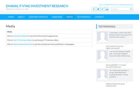 Screenshot of Press Page dhavalpvyas.com - Media » Dhaval P Vyas Investment Research - captured Oct. 9, 2018