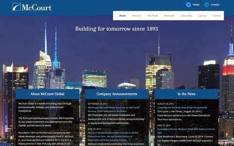 Screenshot of Home Page mg.com - McCourt Global | Home - captured Oct. 4, 2014