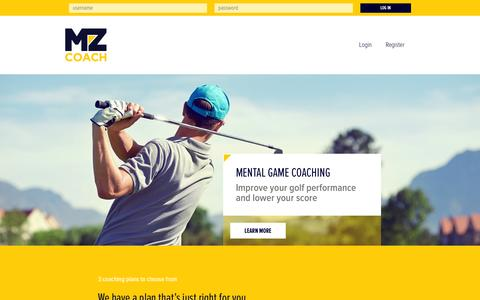 Screenshot of Home Page mzcoach.com captured Dec. 20, 2015