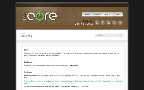Screenshot of Services Page thecoresite.com - The Core - Apple Value Added Reseller - captured Oct. 19, 2018