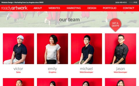 Screenshot of Team Page readyartwork.com - Staff | Professional Website Development Team - captured Feb. 18, 2016