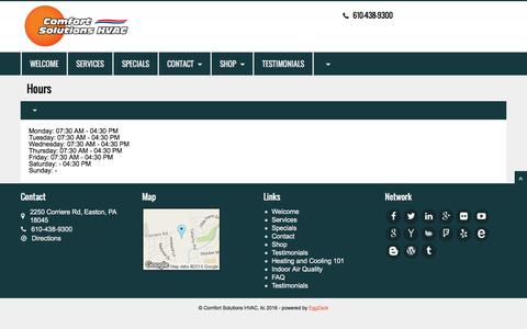 Screenshot of Hours Page cshvac.com - Welcome   Comfort Solutions HVAC, llc - captured Jan. 30, 2016