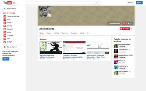 Screenshot of YouTube Page youtube.com - Abhik Biswas  - YouTube - captured Oct. 22, 2014