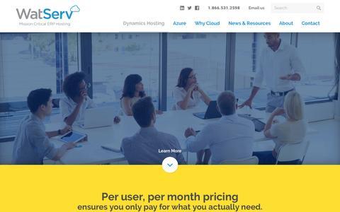Screenshot of Pricing Page watserv.com - Pricing - WatServ - captured Feb. 26, 2016