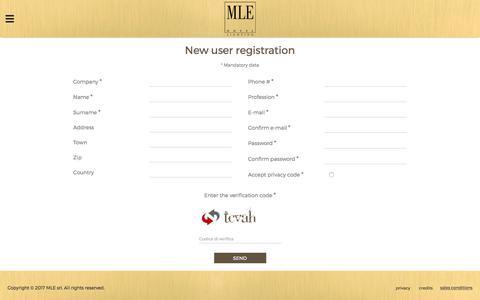 Screenshot of Signup Page mlelighting.com - MLE - User registration - captured Sept. 30, 2017