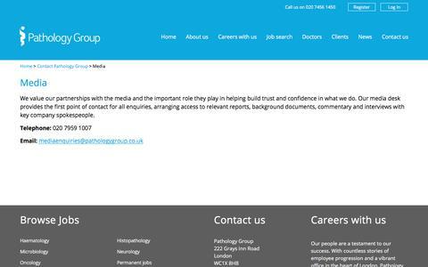 Screenshot of Press Page pathologygroup.co.uk - Media contact | Press contacts - Pathology Group - captured Sept. 21, 2018