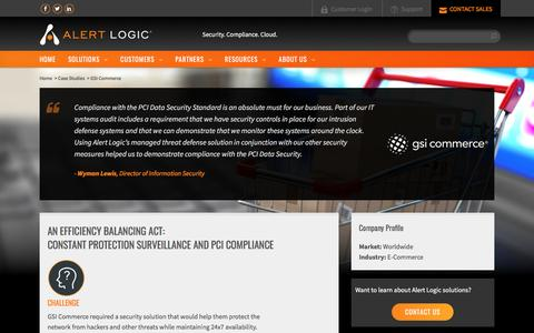 Screenshot of Case Studies Page alertlogic.com - Continuous Security Monitoring and PCI Compliance Case Study By GSI Commerce - captured March 7, 2017