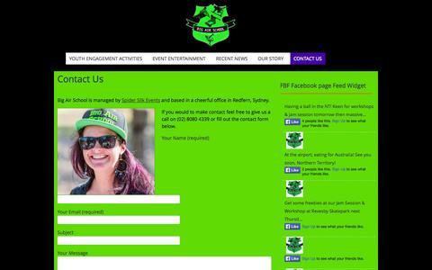 Screenshot of Contact Page bigairschool.com.au - Contact Us | Big Air School - captured Sept. 30, 2014