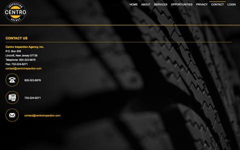 Screenshot of Contact Page centroinspection.com - Centro Inspection Agency - captured Nov. 1, 2016