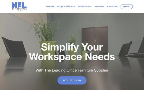 Screenshot of Home Page nflinc.com - Office Furniture | Office Design Services - NFL Officeworks - captured Oct. 19, 2018