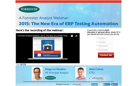 Screenshot of Landing Page panaya.com - A Forrester Webinar: The New Era of ERP Testing Automation - captured Sept. 12, 2018