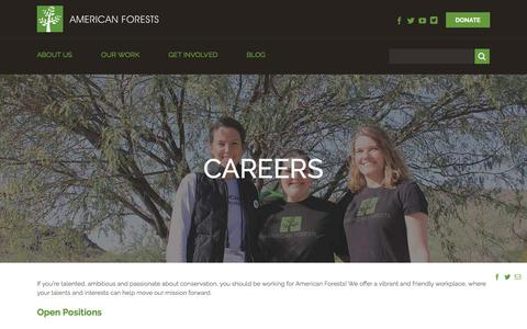 Screenshot of Jobs Page americanforests.org - Careers - American Forests - captured July 30, 2018