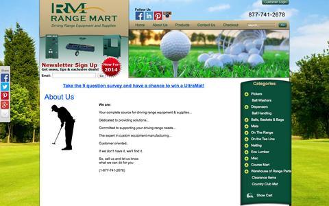 Screenshot of About Page rangemart.com - Driving Range Supplies - captured Oct. 1, 2014