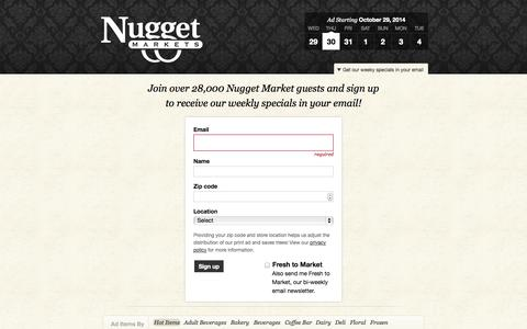 Screenshot of Signup Page nuggetmarket.com - Nugget Markets Weekly Ad Starting October 29, 2014 - captured Oct. 31, 2014