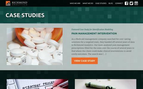 Screenshot of Case Studies Page richmondanalytics.com - Case Studies | Richmond Analytics - captured Oct. 9, 2014