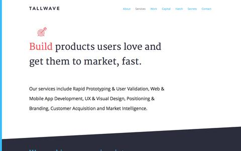 Screenshot of Services Page tallwave.com - Services | Tallwave - captured Nov. 20, 2015