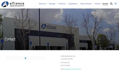 Screenshot of Contact Page alliancespacesystems.com - Contact – alliancespacesystems - captured May 30, 2019