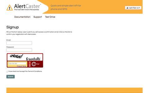 Screenshot of Signup Page alertcaster.com - Alertcaster: Sign up - captured Oct. 29, 2014