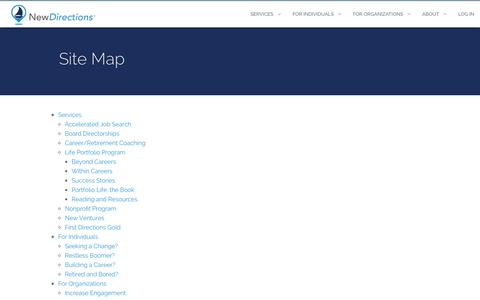 Screenshot of Site Map Page newdirections.com - New Directions :: Site Map - captured Oct. 26, 2014