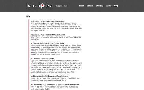Screenshot of Blog transcriptera.com - Transcription Services by Transcriptera. Audio, Video, Interview, Phone - captured Oct. 7, 2014