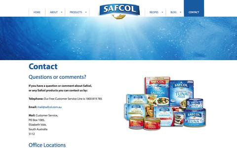 Screenshot of Contact Page safcol.com.au - Contact | Safcol - captured Oct. 3, 2014