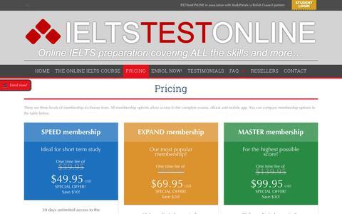 Screenshot of Pricing Page ieltstestonline.com - Pricing - IELTStestONLINEIELTStestONLINE - captured Nov. 5, 2018