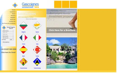 Screenshot of Locations Page gascoignesinternational.com - Gascoignes International - Overseas properties for holiday, retirement and  investment - captured Sept. 29, 2014