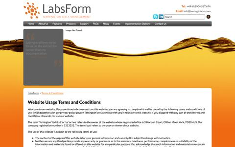 Screenshot of Terms Page labsform.com - LabsForm :: Terms & Conditions - captured Oct. 19, 2018