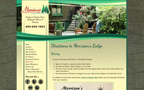 Screenshot of Maps & Directions Page morrisonslodge.com - Directions - Morrison's Lodge, located in Southern Oregon on the Wild & Scenic Rogue River - captured Oct. 7, 2014