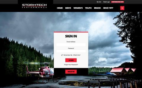Screenshot of Login Page stormtech.ca - Customer Login - captured Oct. 31, 2014