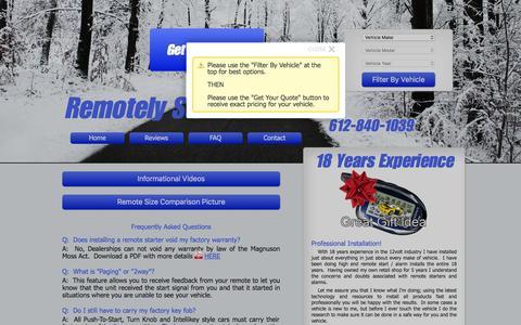 Screenshot of FAQ Page remotelystartedmn.com - Remotely Started MN - Remote Car Starter Installation in Apple Valley - captured Feb. 25, 2016