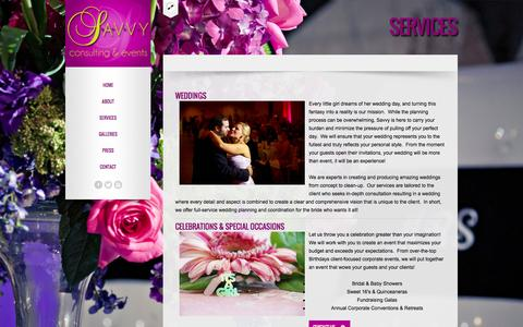 Screenshot of Services Page thesavvyconsultants.com - SERVICES - The Savvy Consultants - Houston's Premier Wedding & Event Planner, Alexia McWhinney - captured Oct. 4, 2014