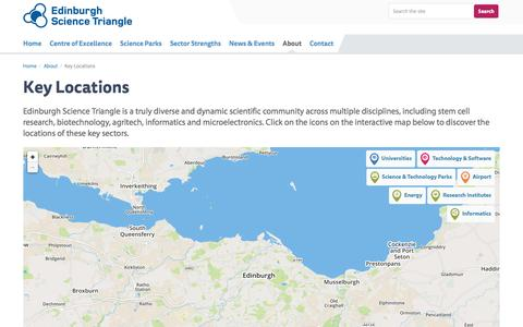 Screenshot of Maps & Directions Page edinburghsciencetriangle.com - Key locations within the Edinburgh Science Triangle | Edinburgh Science Triangle - captured Dec. 7, 2015