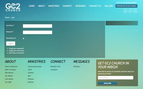 Screenshot of Login Page gc2church.org - Login - captured Sept. 26, 2014
