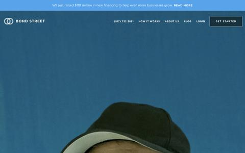 Screenshot of Home Page bondstreet.com - Bond Street | Simple, transparent, fair financing for small businesses - captured Sept. 1, 2015
