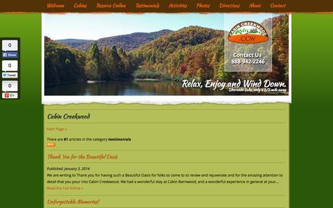 Screenshot of Testimonials Page cabincreekwood.com - Shenandoah Valley Virginia News - captured Oct. 1, 2014